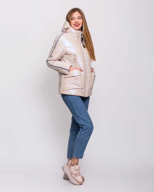 Куртка - съемный капюшон жемчуг