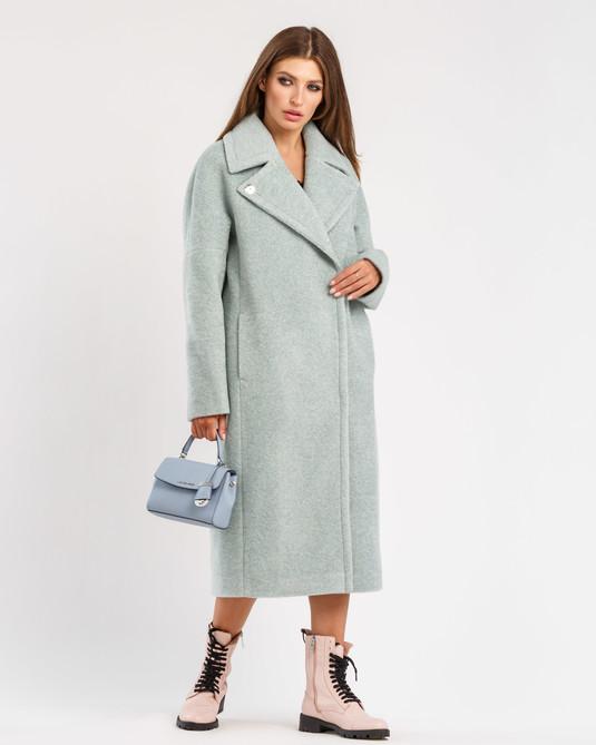 Пальто шерстяное голубое