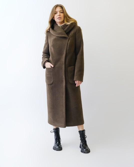 Пальто шерстяное с капюшоном шоколад