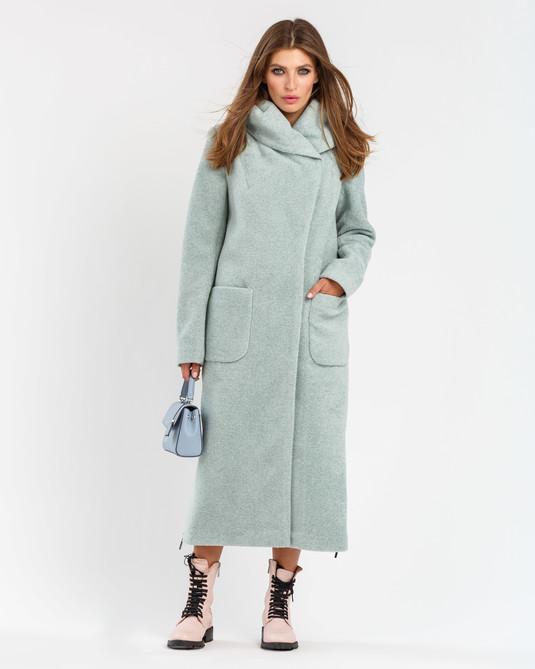 Пальто шерстяное с капюшоном голубое