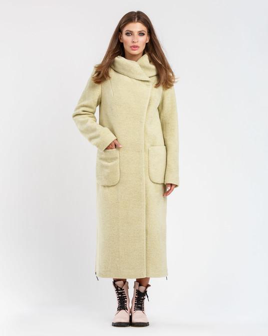 Пальто шерстяное с капюшоном фисташка