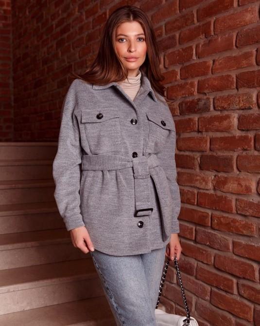 Пальто-рубашка серая