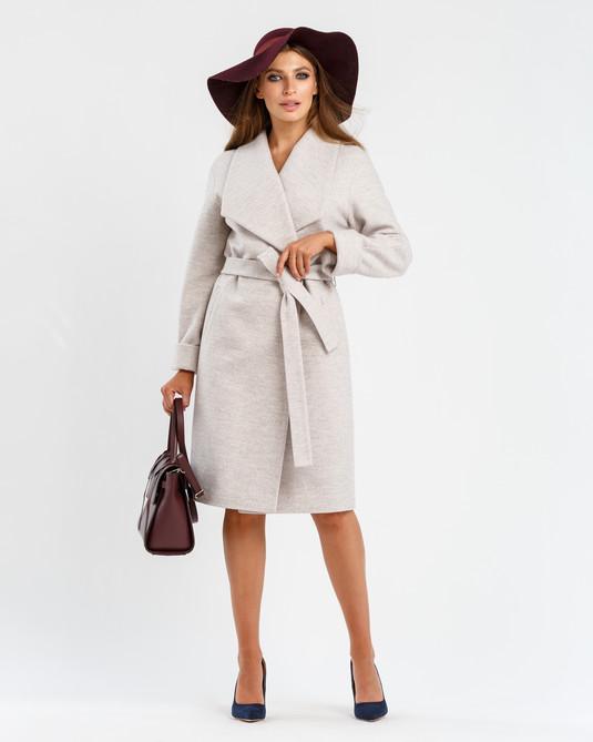Пальто с шалевым воротником беж