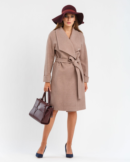 Пальто с шалевым воротником капучино