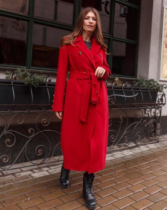 Пальто Макси классика красное