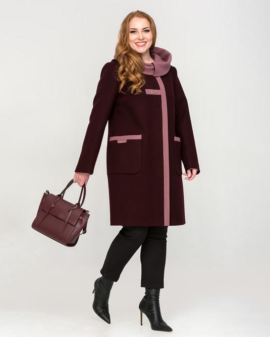 Двухцветное пальто с капюшоном вино