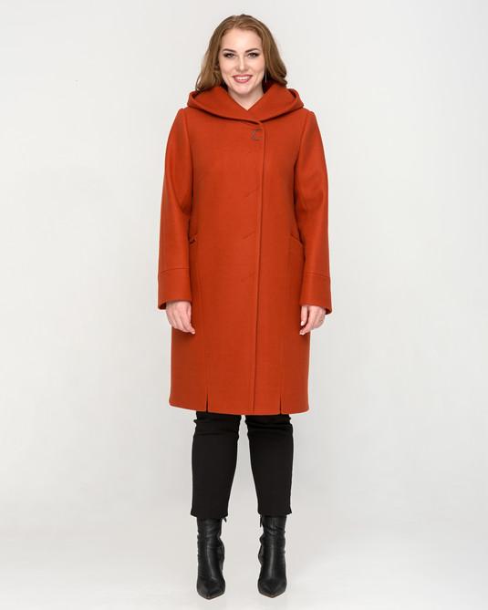 Пальто с капюшоном терракот