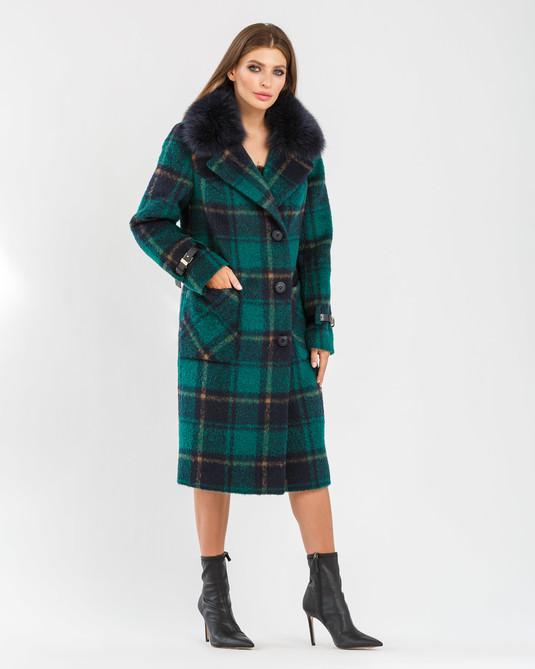 Зимнее пальто в клетку изумрудное
