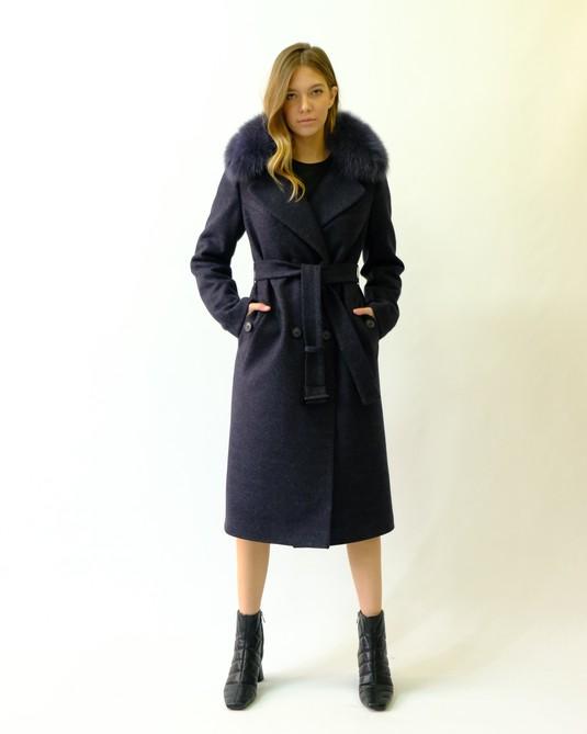 Зимнее классическое пальто синий