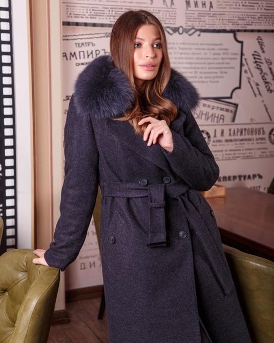 Зимнее классическое пальто синее