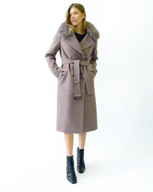 Зимнее классическое пальто капучино