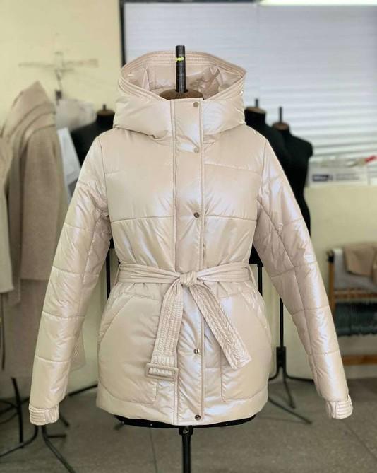 Куртка с поясом жемчужная
