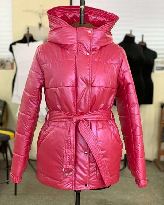 Куртка с поясом малина