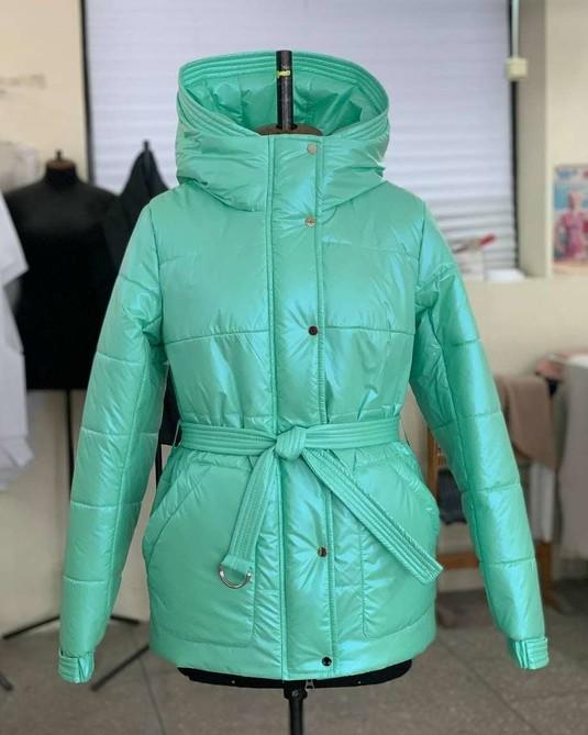 Куртка с поясом мята