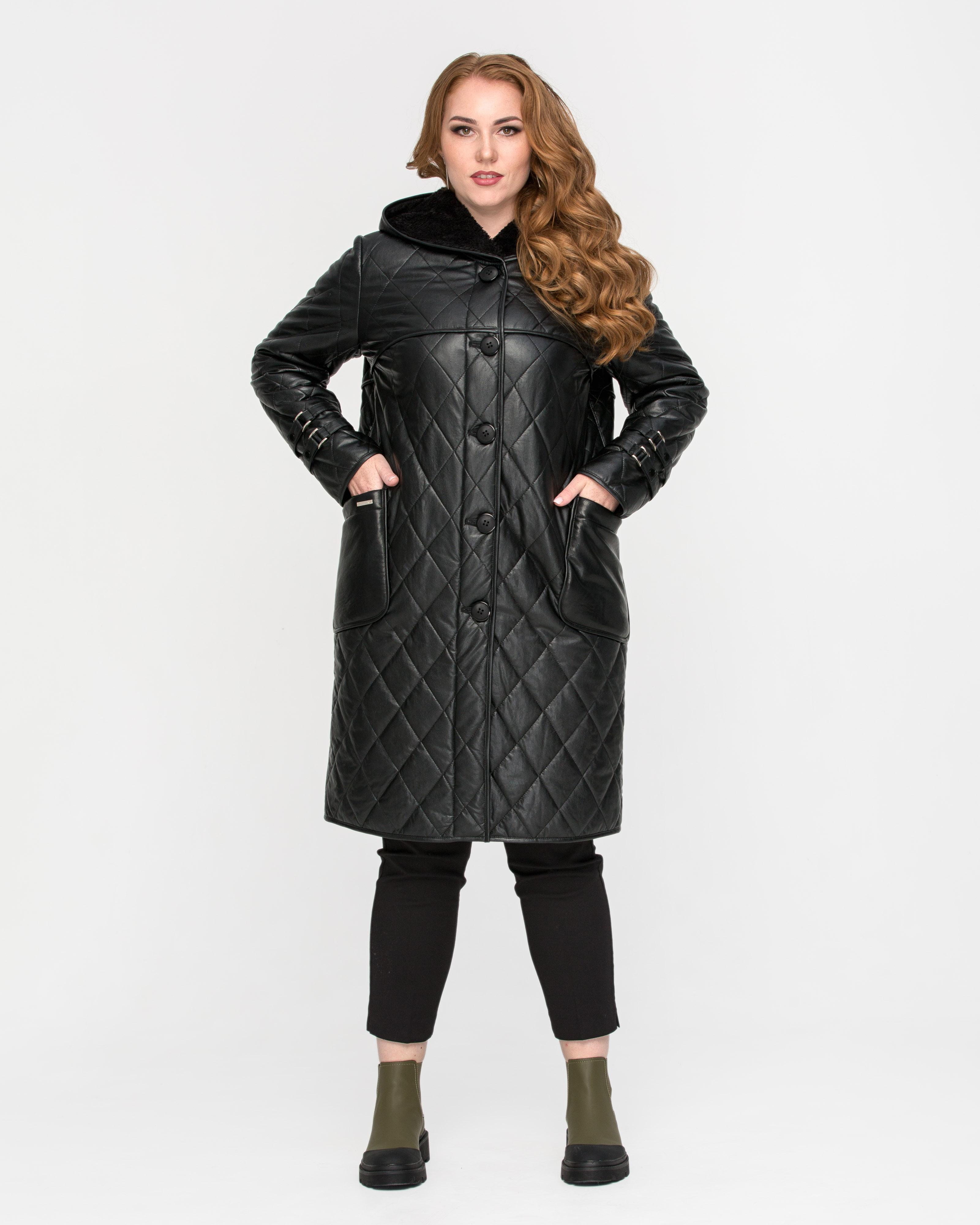 Кожанная куртка на пуговицах