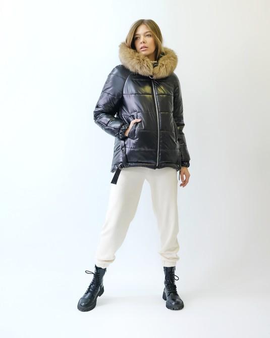 Зимняя куртка с натуральным мехом шоколад