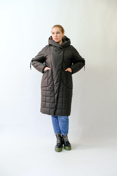 Зимняя меланжевая куртка хаки