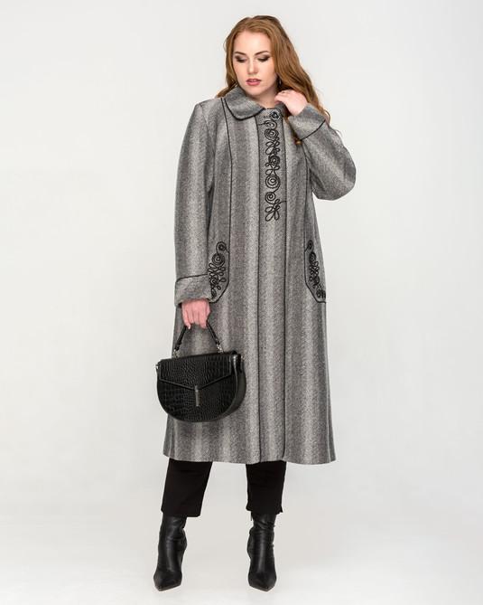 Пальто макси твидовое серое