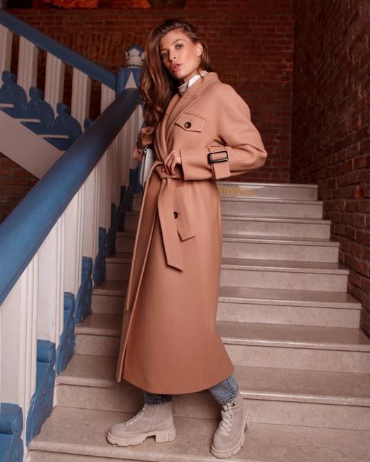 Длинное пальто кэмел